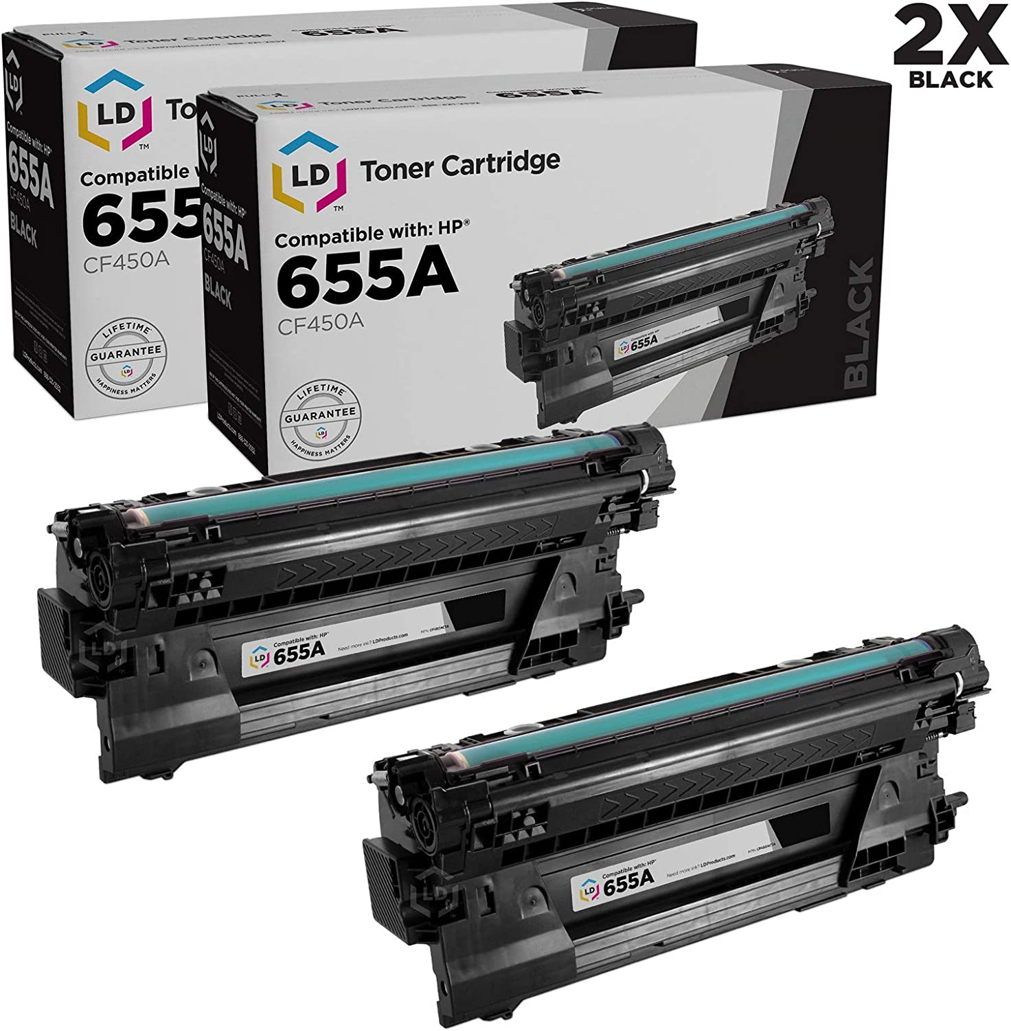 LD Compatible Toner Cartridge Replacements for HP 655A CF450A (Black, 2-Pack)
