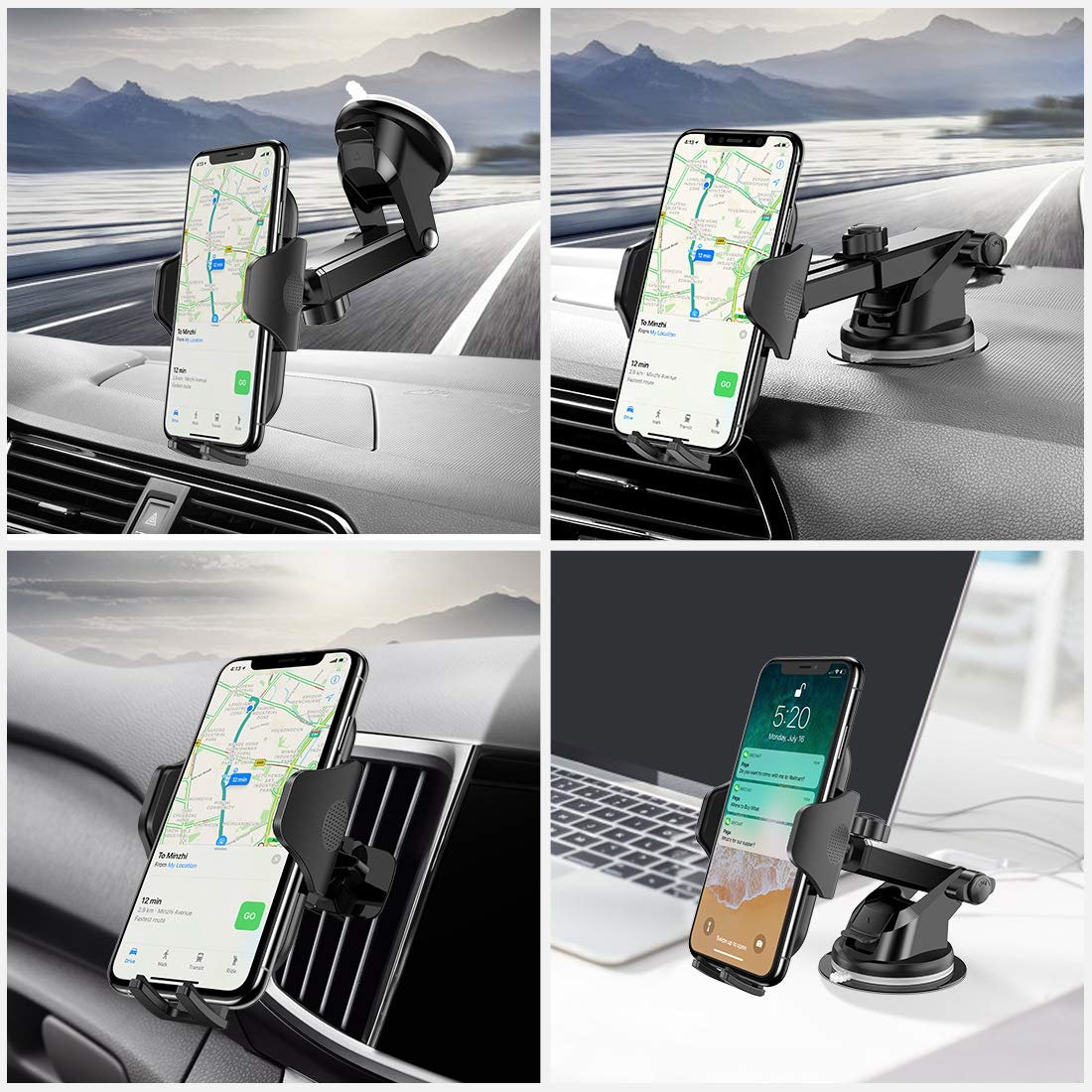 Universal Car Phone Mount VICSEED Car Phone Holder for Car Dashboard Windshield Air Vent Adjustable Long Arm Strong Suction Cell Phone Car Mount Fit for iPhone X XS Max XR Samsung Galaxy Note 10 S10 by VICSEED (Image #7)