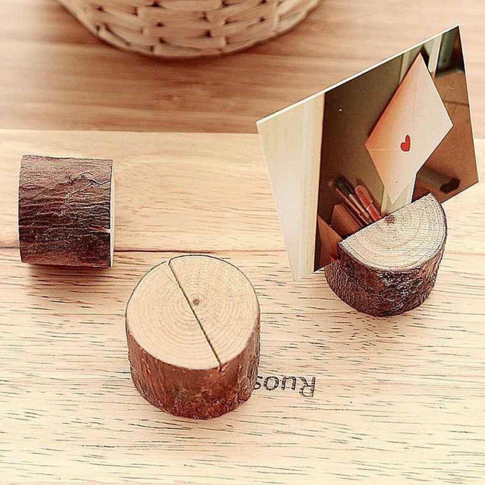 12 PCS New Wooden Wedding Party Table Number Stand Place Name Memo Card Holder By MFCreative (Wood Holder)