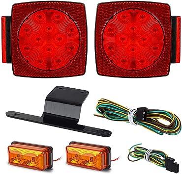 """Red White Turn Stop Tail Light Led under 80/"""" Submersible 12v Trailer Lights Kit"""