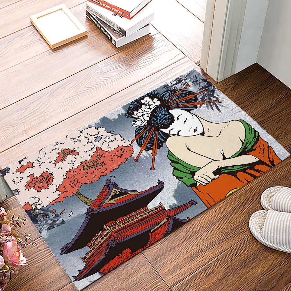 Custom Bed USA Indoor Felt Doormat Asian Front Door Mat Non Slip Rubber Backing Dirt Trapper Mats Entrance Door Rug Carpet 16x24inch, Japanese Art Geisha Girl Traditional Style Background