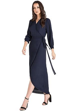c6b381149b8 Standards   Practices Modern Women s Blue Tulip High Low Chiffon Wrap Dress  Size XS