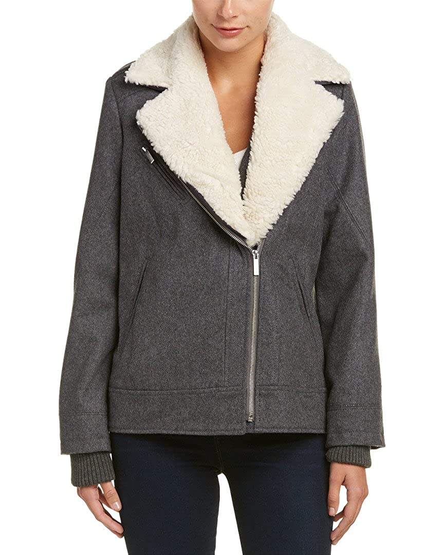 French Connection Womens Faux Sherpa Wool Moto Coat