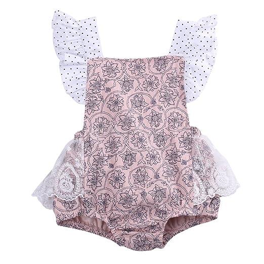 8c3a8a2ac343 Amazon.com  Baby Girls Lace Flower Printed Bodysuit Romper Jumpsuit ...