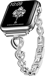 Sangaimei Compatible Bling Band for Apple Watch 38mm 40mm Band Women Rhinestone Stainless Steel Link Band Iwatch Series 6/5/4/3/2/1 Bracelet Metal Strap Silver