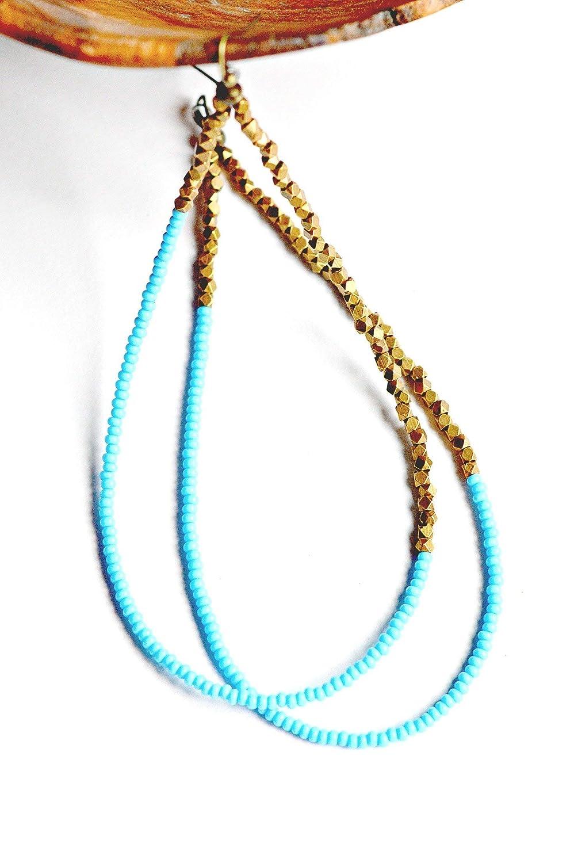 078a99add13d8 Amazon.com: African hoop earrings for women, beaded hoop earrings ...