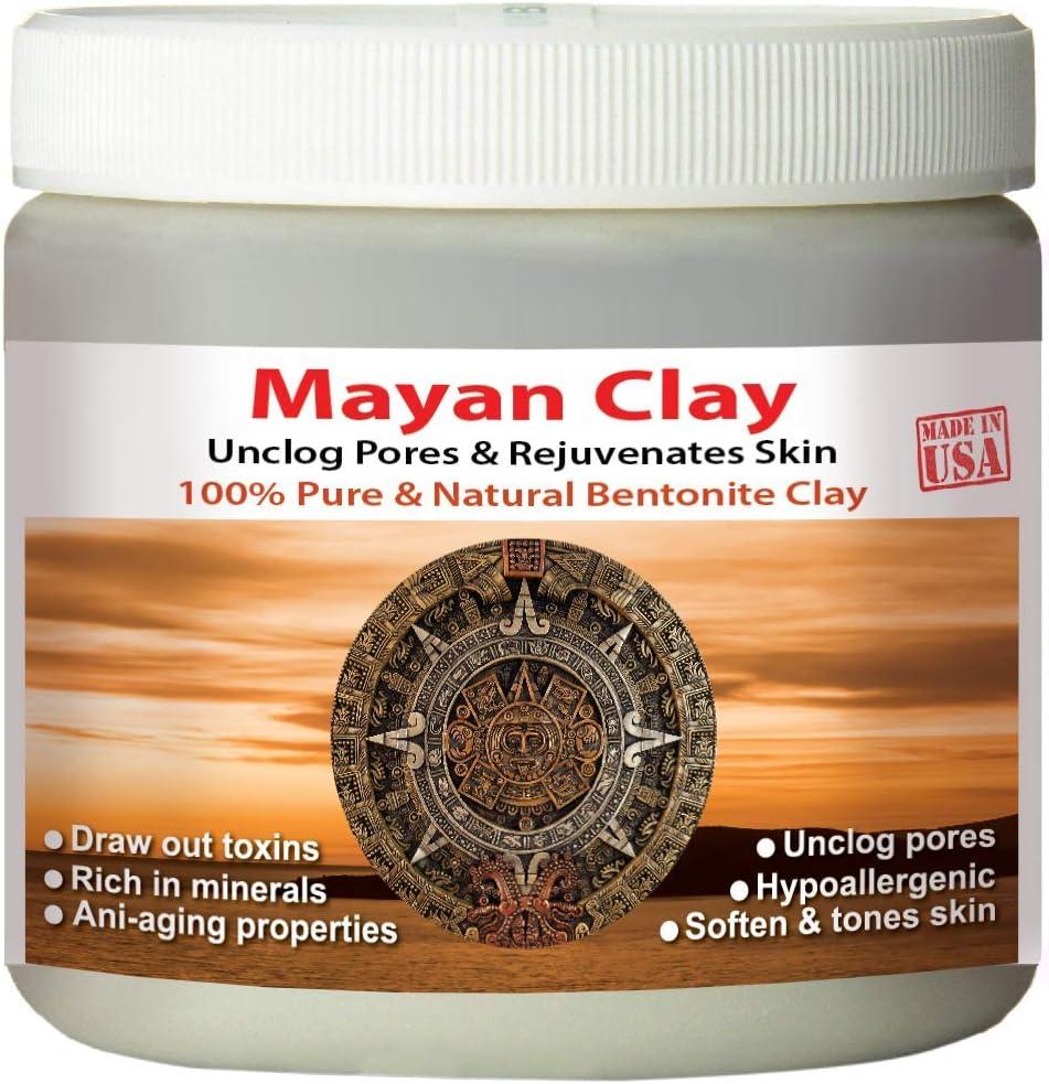 Mayan Pure Indian Healing Clay Powder, Deep Pore Skin Cleansing, Body and Hair Mask, Natural Calcium Bentonite Clay