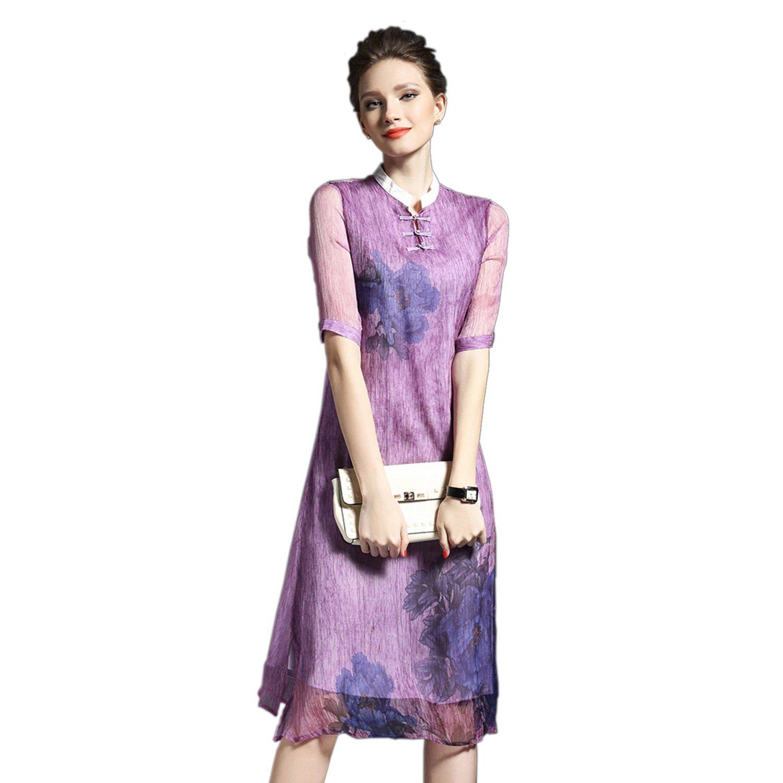 Homedecoam Damen Fashion Blumen Kleid aus Seide und Polyester ...
