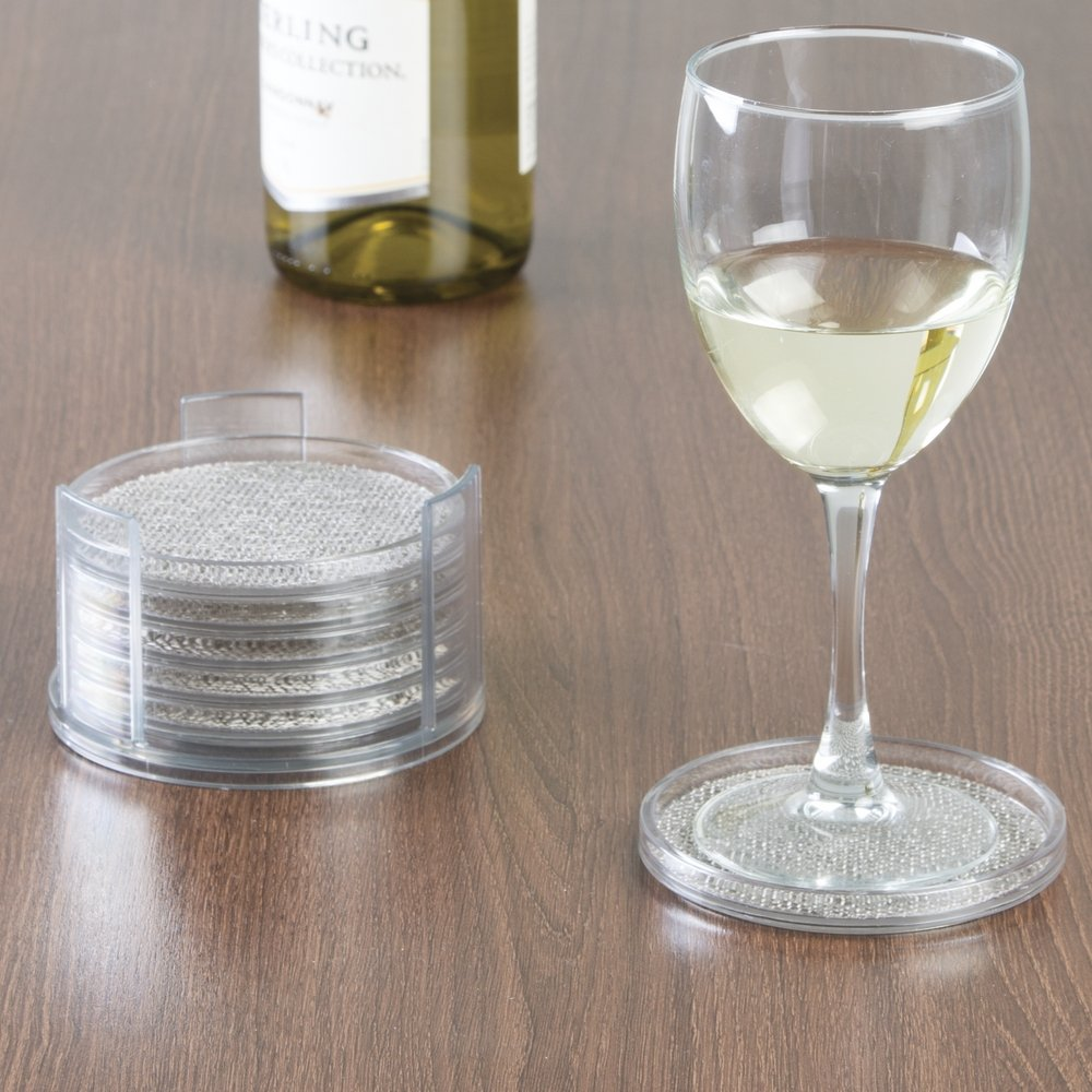 Amazon.com | InterDesign Twillo Round Drink Coasters for Home, Kitchen, Dining Room - Set of 6 with Holder, Metallico/Clear: Coasters