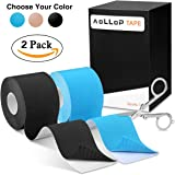 """Aollop Kinesiology Tape with Free Folding Scissor- Best Pain Relief Elastic Therapeutic Sports Tape for Muscle Joint,Plantar Fasciitis, Knee Shoulder,Waterproof,Latex Free,Uncut 2"""" x 16.5 ft"""