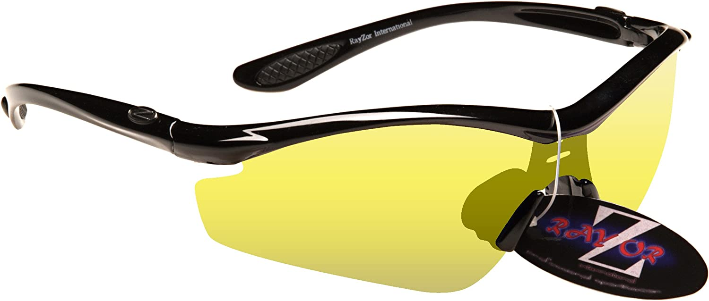 Rayzor Profesionales Ligeros Negros UV400 Deportes Wrap Running Gafas de Sol, con una antideslumbrante Lente Mejora Claro Amarillo Claro