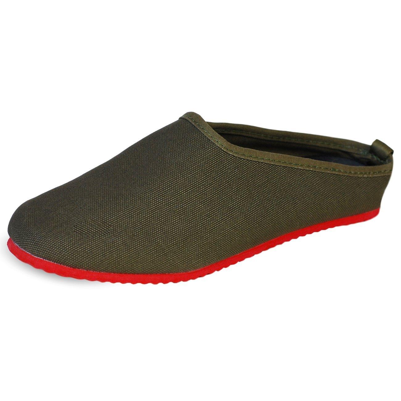 PantOUF Biarritz Pantofole di Cotone - per Donne/Uomini (taglia piccola) Marrone/Rosso