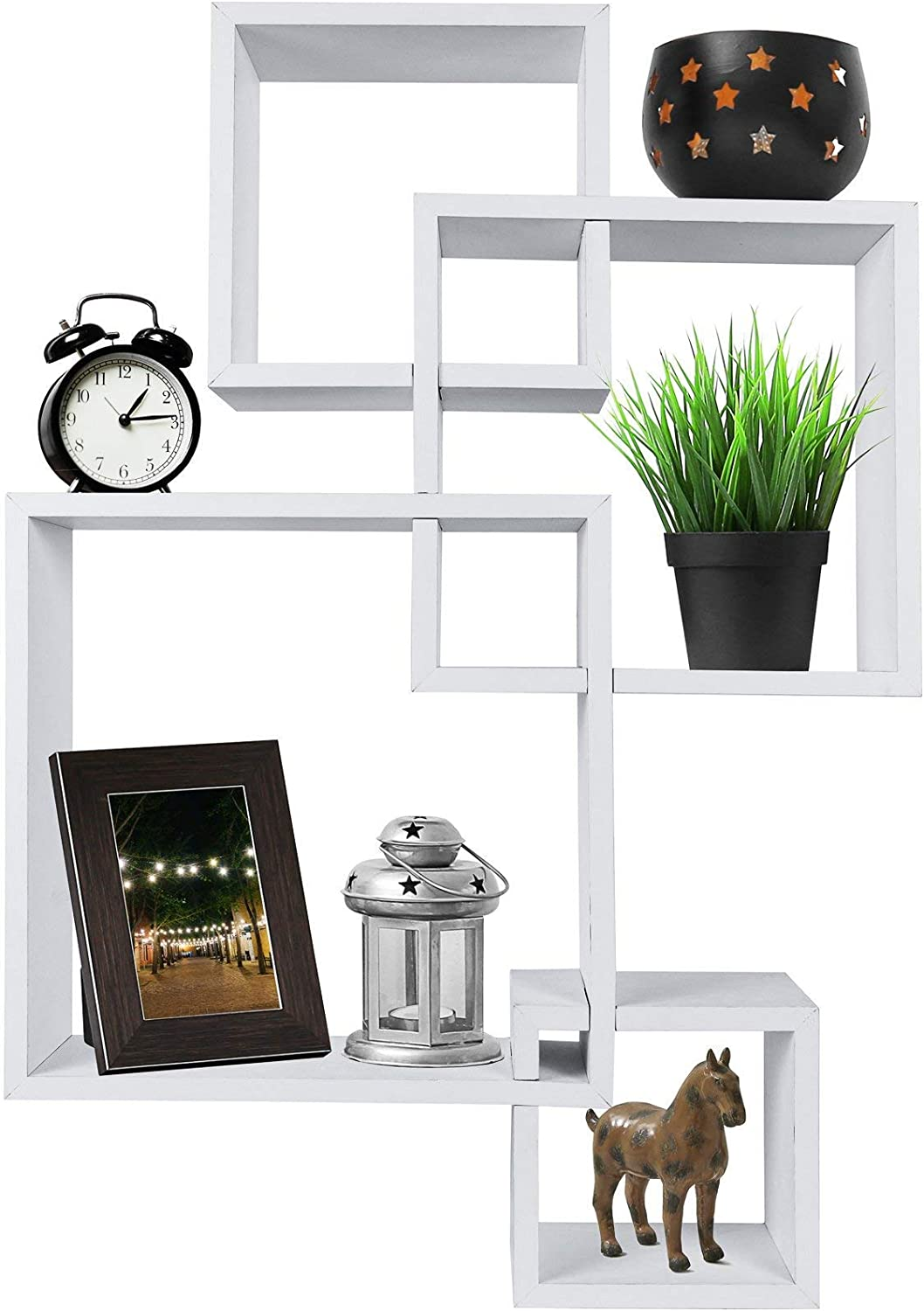 Greenco Decorative 4 Cube Intersecting Wall Mounted Floating Shelves- White Finish: Home & Kitchen