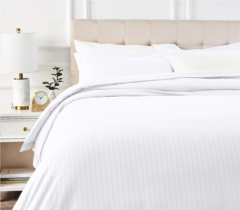 AmazonBasics Deluxe Striped Microfiber Duvet Cover Set - King, Bright White