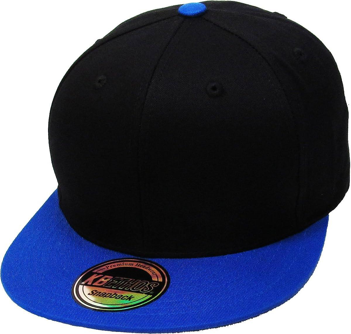 Classic Snapback Hat Blank Cap - Cotton & Wool Blend Flat Visor