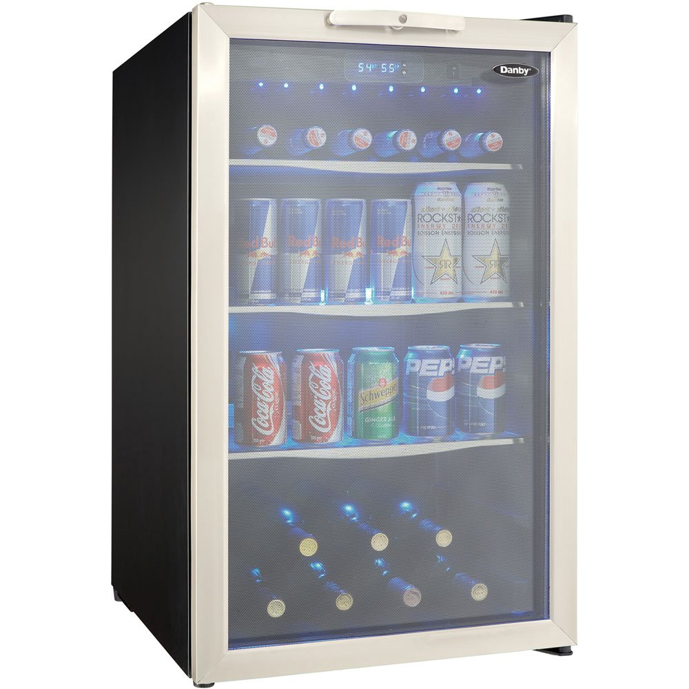"Danby DBC039A1BDB 20"" Freestanding Beverage Center with 4.3 cu. ft. Capacity 124 Can Capacity 3 Glass Shelves and Blue-LED Lighting in Stainless"