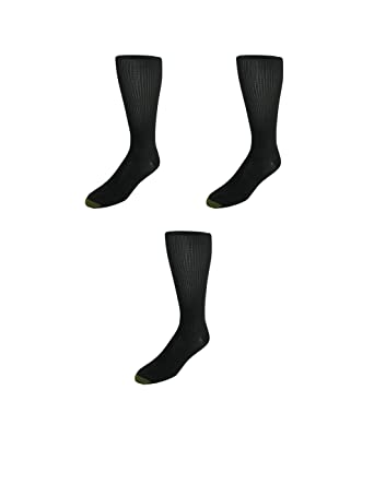 25c2fac09b3d3 Gold Toe Mens Firm Support Compression Socks (Pack of 3-Available in Big &  Tall), Large, Black at Amazon Men's Clothing store:
