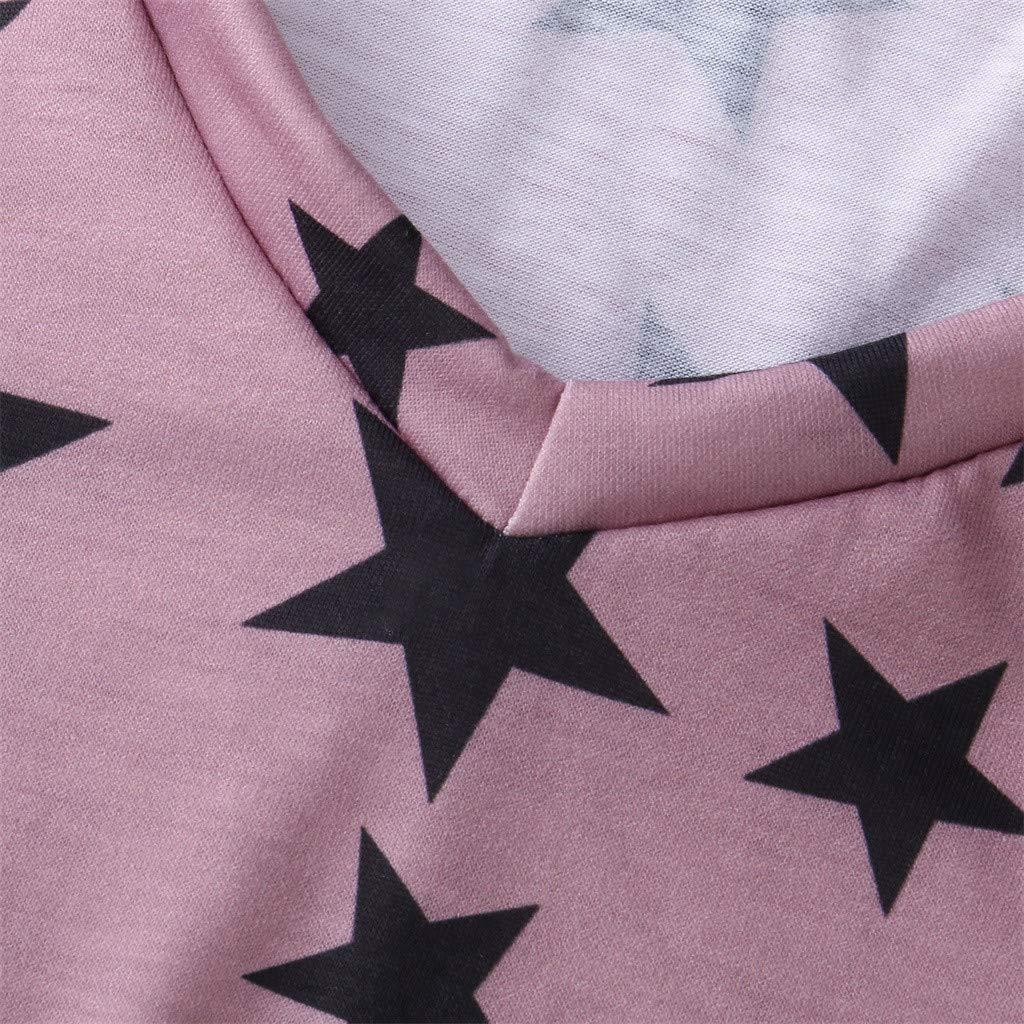 Lazzboy Maglietta Allentata Slouch da Donna a Manica Lunga con Stelle Stampate a Quattro Stelle Taglia 40-48