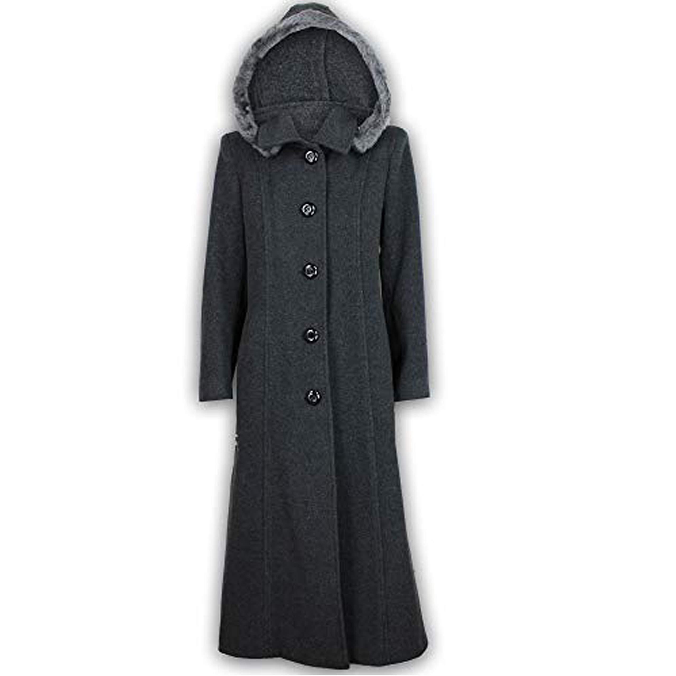 c71ded745ff50 Manteau Femme en Mélange de Laine Cashmere avec Capuche Bordé de Fausse Fourrure  Manteau Long Chaud Mode et Neuf