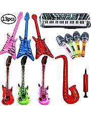 SWZY Inflables de Juguete, Inflable Guitarra Saxofón Micrófono Teclado, Música Parte Prop para Fiesta