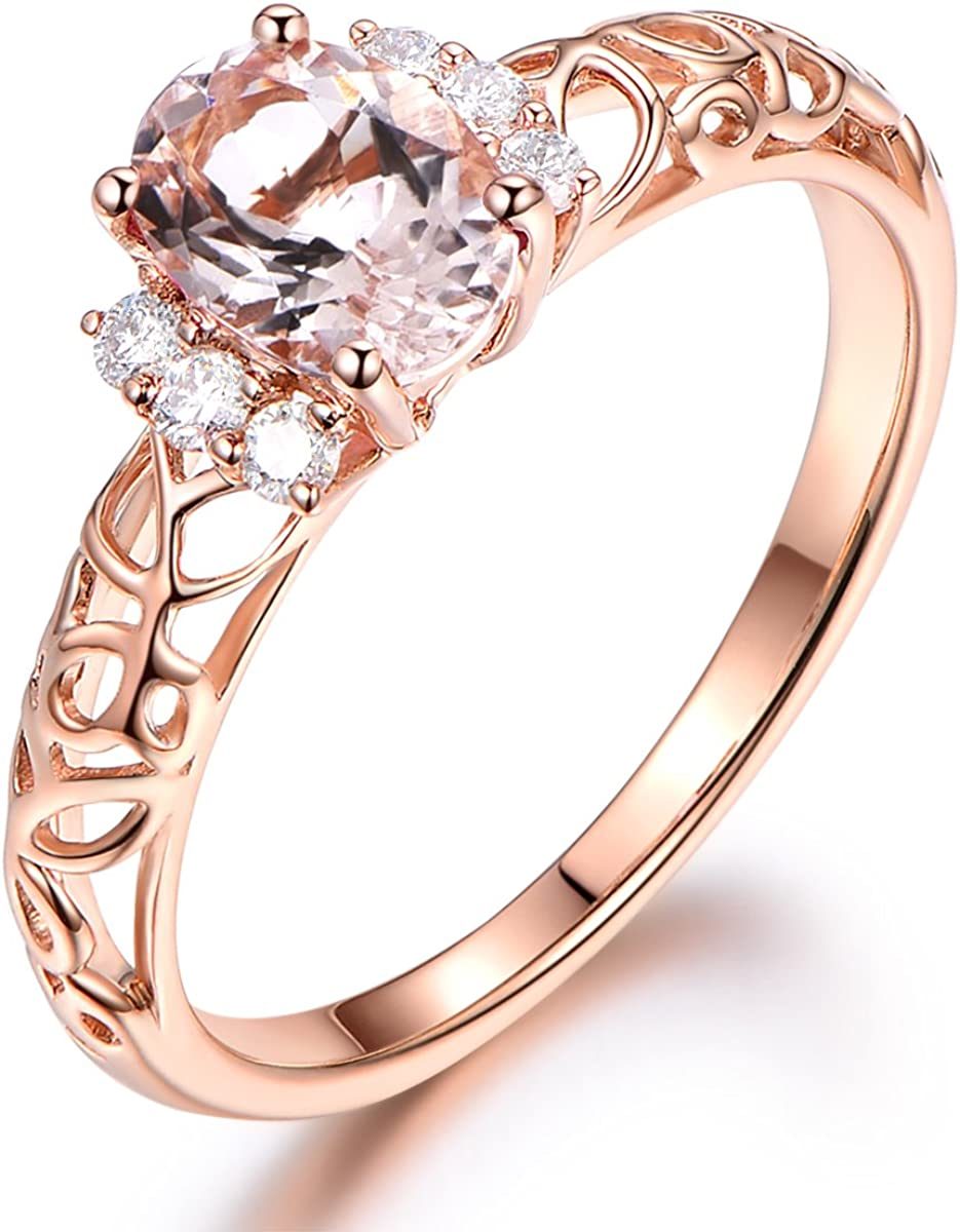 Pink Morganite Engagement Ring Solid 14k Rose Gold Band Diamond Wedding Band 5x7mm Oval Cut Stone Amazon Com