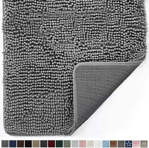 Gorilla Grip Original Indoor Durable Chenille Doormat, 60×36, Absorbent Machine Washable Inside Mats, Low-Profile Rug Doormats for Entry, Mud Room Mat, Back Door, High Traffic Areas, Gray