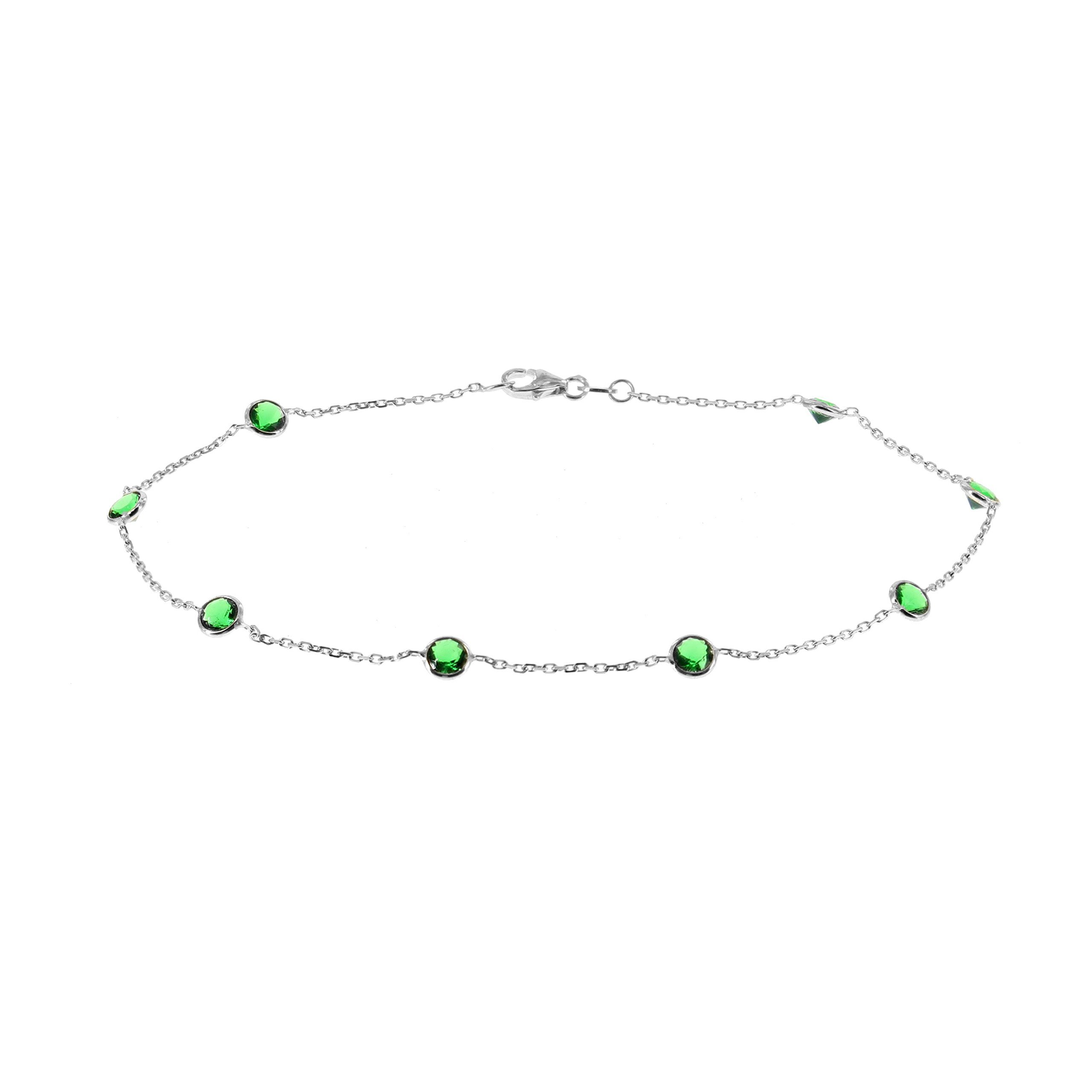 14k White Gold Ankle Bracelet With Green Cubic Zirconia By (9 - 11 inches)