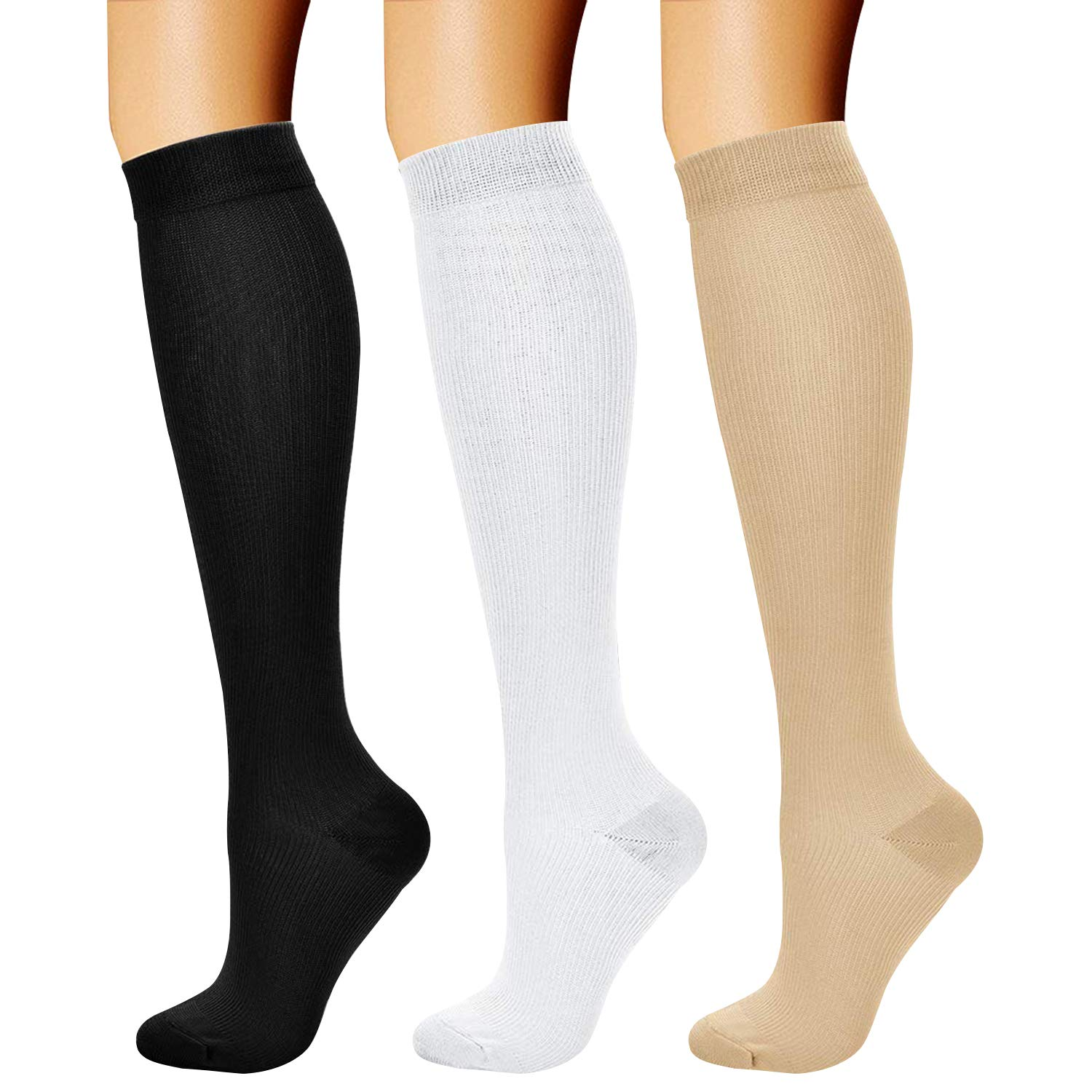 CHARMKING Compression Socks (3 Pairs) 15-20 mmHg is Best Athletic & Medical for Men & Women, Running, Flight, Travel, Nurses, Edema - Boost Performance, Blood Circulation & Recovery (S/M, Assorted 02) by CHARMKING
