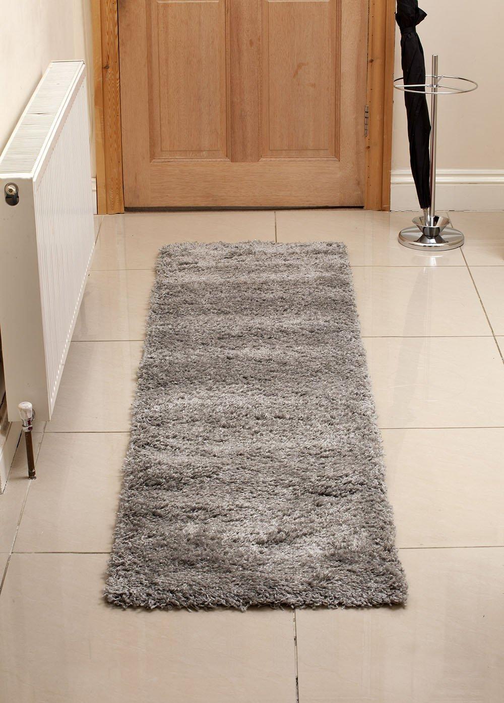 Aspect Shaggy Rug Runner 60x220cm Silver Grey Kitchen Karpet Premium 160x230 Turkiye Home