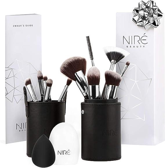 Niré Beauty: Set de brochas para contouring, corregir e iluminar, con esponja Niré Beauty, limpiador de brochas y estuche de brochas: Amazon.es: Belleza