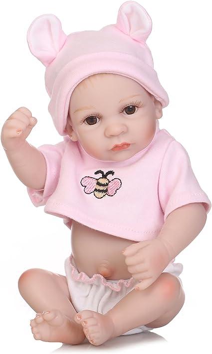 "10/"" Fully Body Silicone Reborn Baby Girl Dolls Washable Lifelike Baby Gifts Doll"