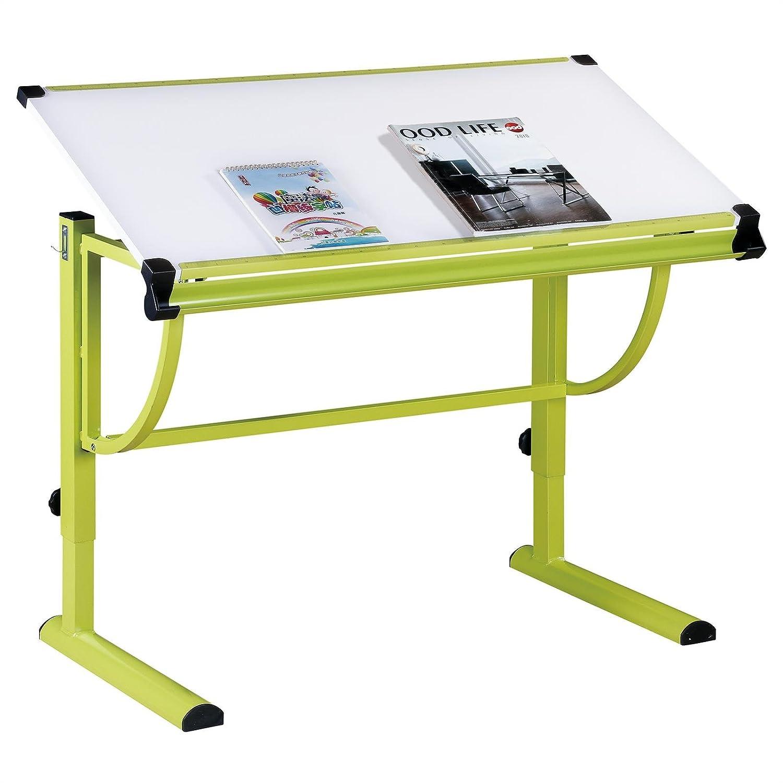 IDIMEX Bureau enfant écolier junior CONNY table à dessin réglable en hauteur et plateau inclinable en MDF, structure en métal laquée vert