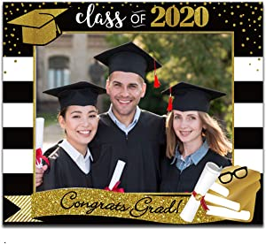 Large Size Graduation Selfie Photo Frame, Class of 2020 Grad Decor for High School Graduates, Black and Gold, for Graduation Party Favors Supplies Decorations (Gold&black Frame)