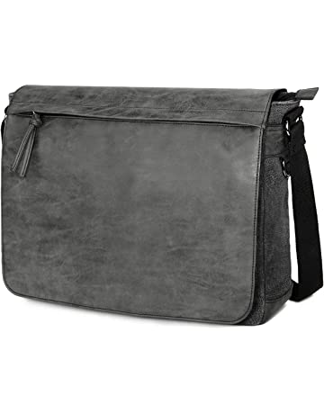 "bc35742bc2e5 Mens Laptop Messenger Bags 15.6"" Water Resistant Shoulder Bag Tocode PU  Leather Canvas Satchel Crossbody"