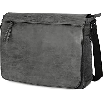 "c0f6dec593c5  4 Mens Laptop Messenger Bags 15.6"" Water Resistant Shoulder Bag Tocode PU  Leather Canvas Satchel Crossbody"