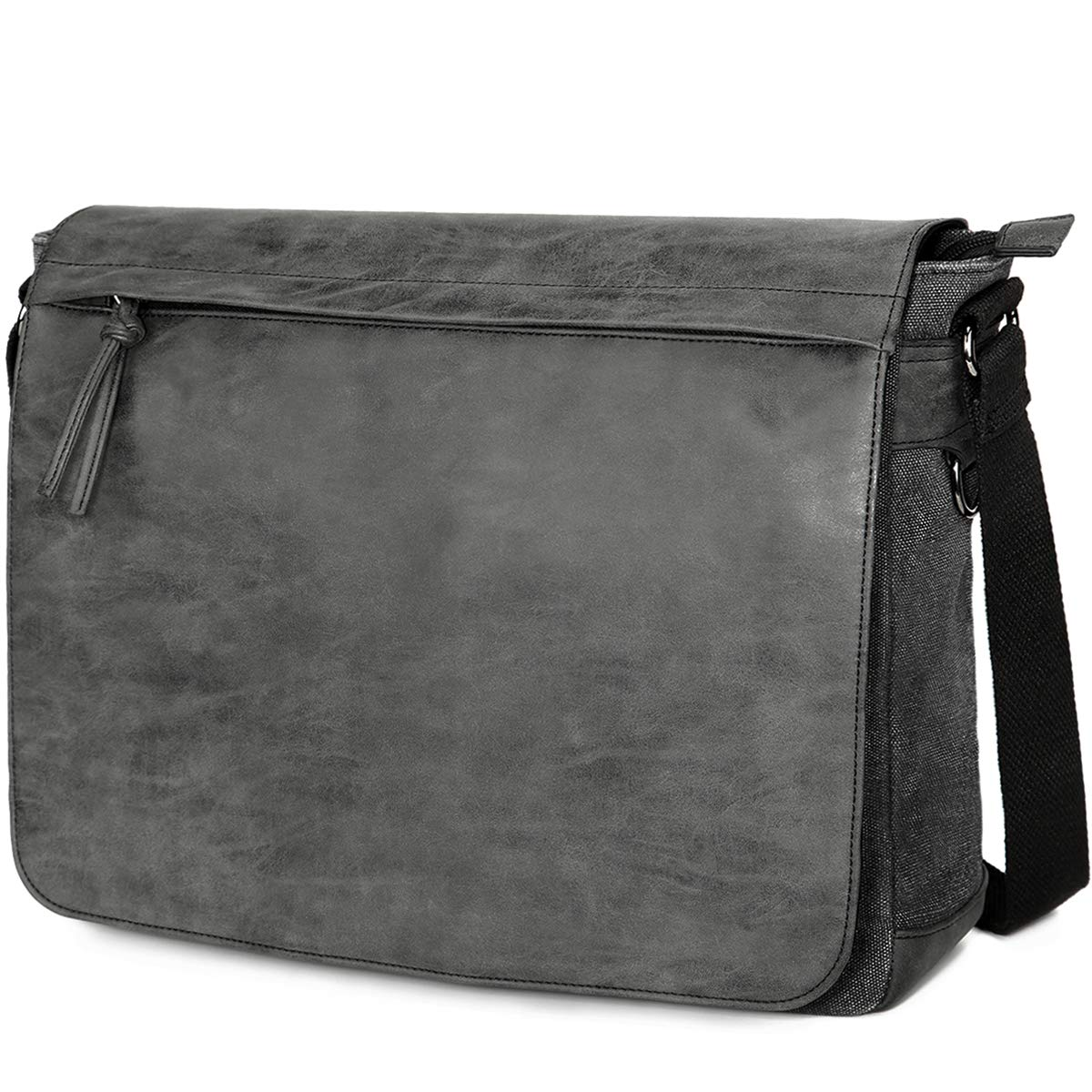 "Mens Laptop Messenger Bags 15.6"" Water Resistant Shoulder Bag Tocode PU Leather Canvas Satchel Crossbody Bags Brifecase Office Bag Large Computer Bag for Work College School Travel Black"