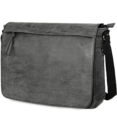 "Mens Laptop Messenger Bags 15.6"" Water Resistant Shoulder Bag Tocode PU  Leather Canvas Satchel Crossbody 85281f8fdccc1"