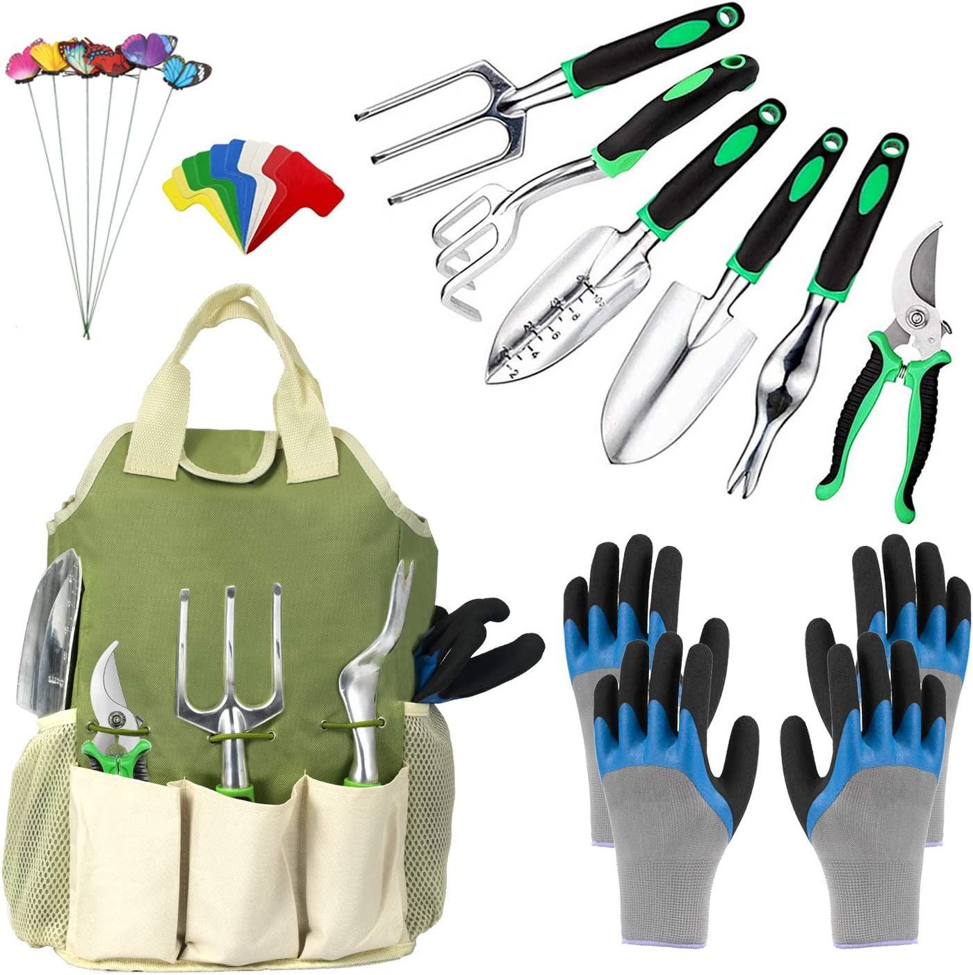 OKZEST Garden Tools Set 25 Pieces, Gardening Kit with Heavy Duty Stainless Steel Hand Tool with Organizer Tote Bag and Garden Gloves, Gardening Tools Set Gift for Women Men