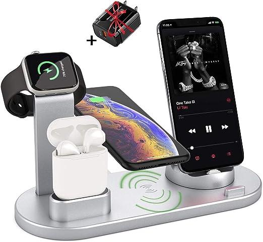 AirPods Pro Cargador Inal/ámbrico 3 en 1 Soportes de Carga Inal/ámbrico para Apple Watch Con QC 3.0 adaptador Samsung Galaxy S20//S10 Estaci/ón de Carga Inal/ámbrica para iPhone SE//11 Pro//XR//XS//X//8