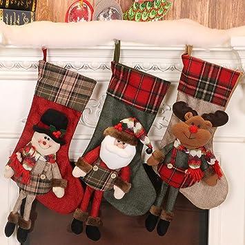 JIBO Decoraciones De Calcetines De Navidad Papá Noel Colgante Decoración De Vacaciones Bolsa De Regalo Bolsa