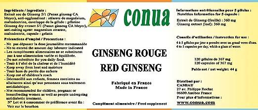 Panax Ginseng rojo (Ginseng Coreano)  120 cápsulas disfunción eréctil rendimiento físico concentración impulso