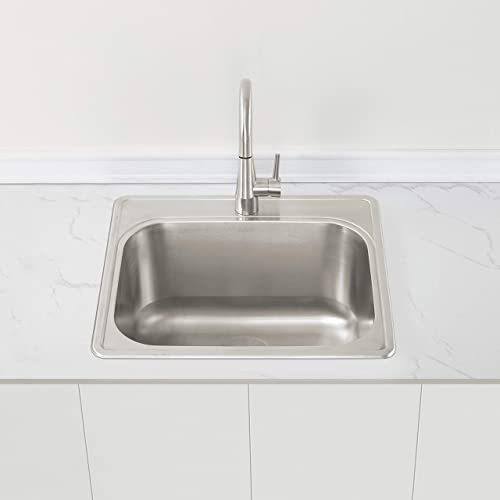 ZUHNE 25 by 22 Drop-In Utility Sink for Laundry Room with Drain Strainer 12 Extra Deep Basin