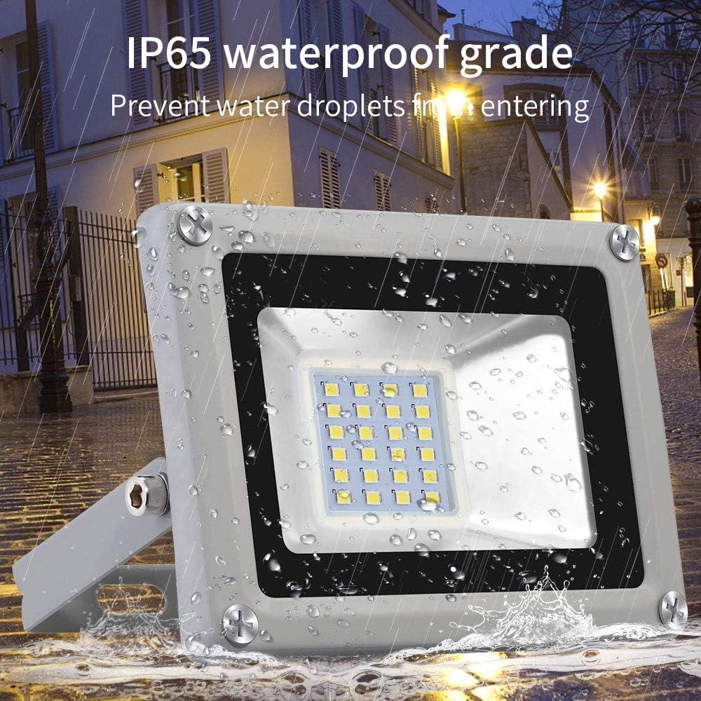 20W LED Flutlicht Floodlight Outdoor-Sicherheitsleuchte 1600lm Ultrad/ünnes LED Strahler 6500K Kalteswei/ß Au/ßenstrahler Wasserdicht IP65 f/ür Garten Garage Sportplatz Energieeffizienzklasse A+