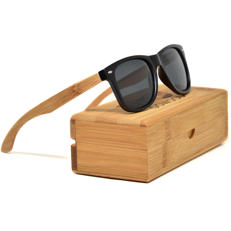 GOWOOD Lunettes de soleil en bois de bambou pour hommes et femmes polaris/ées