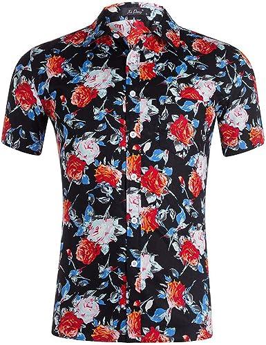 Hawaiian Shirt Mens Flower Leaf Beach Aloha Party Casual Holiday Short Sleeve Tropical Garden Shirt Beach Wear