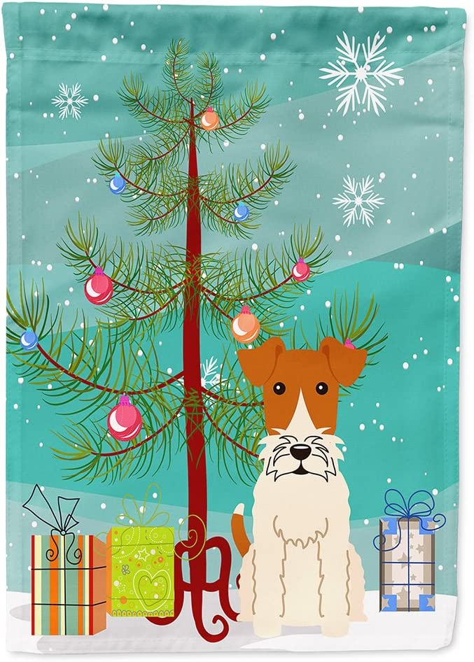Caroline's Treasures BB4226GF Merry Christmas Tree Wire Fox Terrier Flag Garden Size, Small, Multicolor