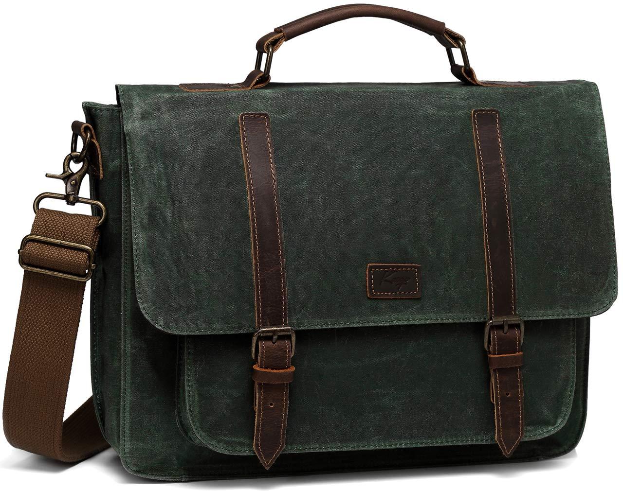 Leather Messenger Bag Mens, Kasgo Water Resistant Waxed Canvas Briefcase Vintage Crossbody Shoulder Bag Leather Satchel Black with 15.6 inch Laptop Sleeve