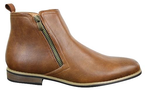 acheter mieux divers styles le meilleur Bottines homme chic décontractées style Chelsea cuir et simili noir et  marron clair avec zip