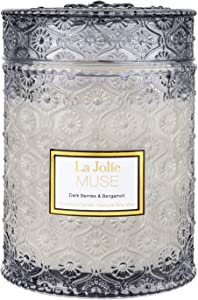 LA JOLIE MUSE Dark Berries & Bergamot Scented Candle, Large Glass Jar Candle, Candle Gift,100% Natural Soy Candle for Home, 90 Hours Long Burning, 19.4 Oz