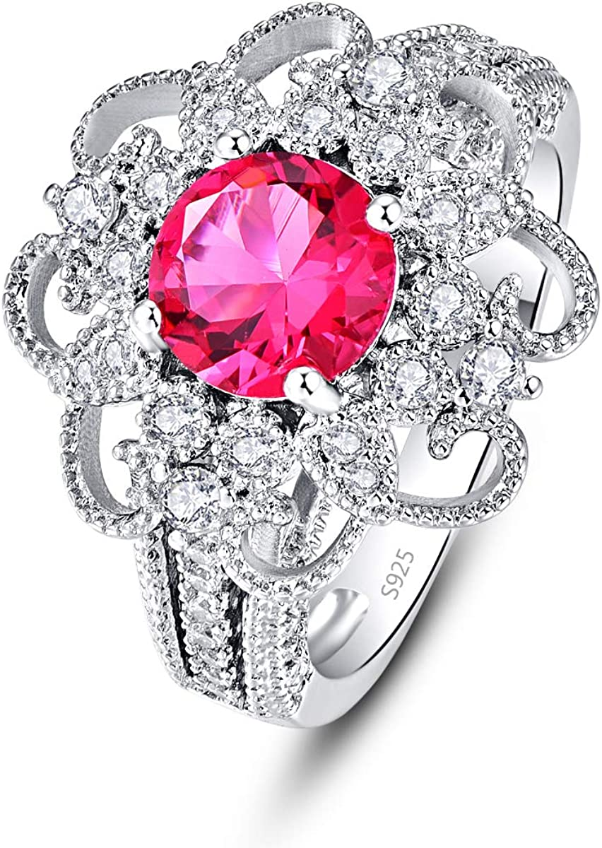 Psiroy 925 Sterling Silver Simulated Ruby CZ Halo Flower Shaped Wedding Ring for Women